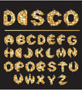 Gold disco ball letters Royalty Free Stock Photo