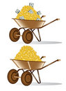 Gold dolar money wheelbarrow Stock Photos