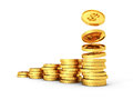 Gold dollar coins growing graph on white background d render illustration Stock Photos