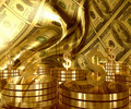 Gold and Dollar money currency icon Stock Photos