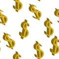 Gold dollar money same sizes. Seamless pattern. Vector illustration