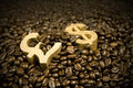 Gold dollar and pound in coffee beans Royalty Free Stock Photo