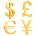Gold dollar,pound,euro,yuan signs Royalty Free Stock Photo