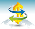 Gold dollar sign with arrow illustration of on globe Royalty Free Stock Photography