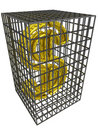 Gold dollar in a steel cage. Royalty Free Stock Photography