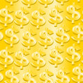 Gold dollar symbol in a seamless pattern