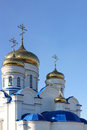 Gold domes and crosses of orthodox temple Stock Image