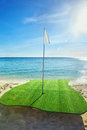 Gold driving range on beach golf with sun flare appear Royalty Free Stock Images