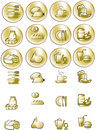 Gold drop image viewer icons Royalty Free Stock Photography