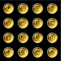 Gold drop server icons Stock Images
