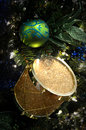 Gold Drum Christmas Ornament Royalty Free Stock Photo