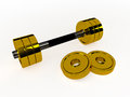 Gold dumbbell d on white background Royalty Free Stock Photos
