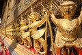 Gold eagle sculptures at the grand palace bangkok close up details of Royalty Free Stock Photos
