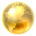 Gold Earth World Icon Royalty Free Stock Photo