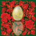 Gold easter egg on floral  background Royalty Free Stock Image