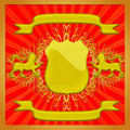 The Gold(en) ornament with shield . Royalty Free Stock Photography