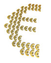 Gold euro signs d render isolated on white and clipping path Royalty Free Stock Photos