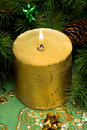 Gold festive candle Royalty Free Stock Photos