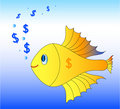 Gold fish with dollars Royalty Free Stock Photo