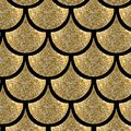 Gold fish scale geometrical vector pattern with glitter effect Royalty Free Stock Photo