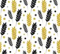 Gold floral background. Vector glitter seamless pattern with lea