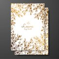Gold floral card template with abstract plants. Template frame for birthday and greeting card, wedding invitation, save the date,
