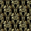 Gold floral 3d gree vector seamless pattern. Ethnic style arabesque background with Paisley flowers. Greek key meanders vintage