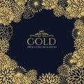 Gold Floral Frame On Dark Blue...