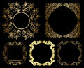 Gold floral vintage frames set with gradient vector eps Stock Photography