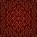 Gold floral vintage seamless pattern on a red background Royalty Free Stock Photo