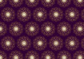 Gold Flower and Swirl Pattern on Dark Purple Background Royalty Free Stock Photo