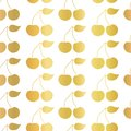 Gold foil Cherry seamless vector pattern on a white background. Golden cherries with leaves. Great for home decor, birthday, Royalty Free Stock Photo