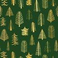 Gold foil doodle Christmas trees seamless vector pattern backdrop. Metallic shiny golden trees on green background. Elegant design