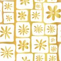Gold foil doodle flowers seamless vector pattern. Hand drawn white square shapes with flowers on golden background. Elegant design