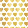 Gold foil hearts seamless vector background. Pattern with shiny golden hand drawn hearts on white background. Use for poster,