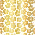 Gold foil Hibiscus flowers on white background seamless vector pattern. Metallic foil. Floral feminine backdrop. For summer,