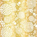 Gold foil mosaic flowers seamless vector background. White abstract florals and leaves on golden background. Elegant, luxurious Royalty Free Stock Photo