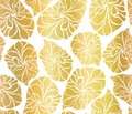 Gold foil mosaic leaves seamless vector background. Golden abstract leaf shapes on white background. Elegant, luxurious pattern Royalty Free Stock Photo