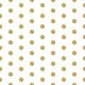 Gold foil shimmer glitter polkadot seamless pattern. Royalty Free Stock Photo
