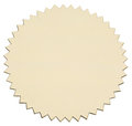 Gold foil sticker with serrated edge view of obliquely from above object is isolated on white background without shadows Stock Photo