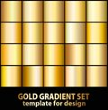 Gold foil texture background set. Realistic golden, copper vector elegant, brass and metal gradient template for gold