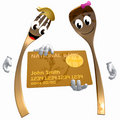 Gold fork and spoon icon with credit card Royalty Free Stock Photo