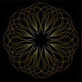 Gold fractal pattern on a black background. Royalty Free Stock Photo