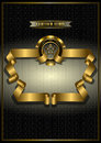 Gold frame for awards on patterned dark background of swirling ribbons and stars Royalty Free Stock Photo