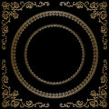 Gold frame on black vintage background Stock Photography