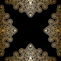 Gold frame on black vintage background antique Stock Images