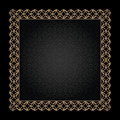 Gold frame on black vintage background square Royalty Free Stock Photography