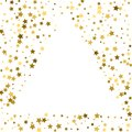 Gold frame or border of random scatter golden stars on white bac Royalty Free Stock Photo