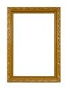 Gold frame Elegant vintage Isolated on white background Royalty Free Stock Photo