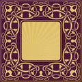 Gold frame with floral ornamental vintage border Royalty Free Stock Images